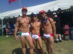His name was Rio and he danced along the sand.. seriously sizzling.  At the 2012  Long Beach Gay Pride Event.  I know, why right??  I would like a set for my birthday.  Mr. Far Right is particularly impressive with how he's made the R almost completely disappear.  Magic!