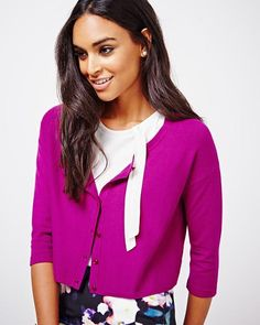 Cropped A-line cardigan