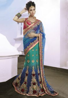 Shaded Blue Net lehenga Style Saree with Blouse Online Shopping: SWY2619