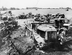 Wrecked German half-tracks and 105mm field guns litter a field in the Falaise Pocket. Allied fighter bombers took a heavy toll of German tanks, vehicles and horse-drawn transport during the retreat of the Seventh and Fifth Panzer Armies from Normandy. PL 34609.