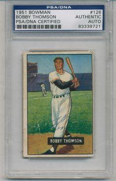 Bobby Thomson PSADNA Auto Signed 1951 Bowman Shot Heard Round The World 83339721 | eBay #bobbythomson #thomson #autograph #1951 #bowman #signedcard