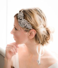 1920s Gatsby hairband, Vintage Bridal Rhinestone Headband, Bridal Ribbon Headband, Art Deco Bridal Headband, Vintage Style - AVA via Etsy