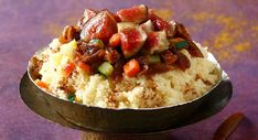 Couscous aux figues Fig Recipes, Beignets, Acai Bowl, Risotto, Potato Salad, Mashed Potatoes, Bbq, Veggies, Lunch