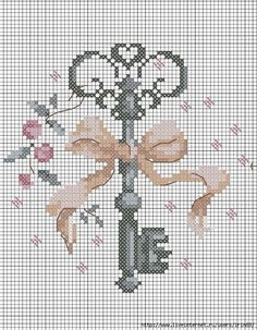 Cross Stitch Free chart クロスステッチフリーチャート: Key 鍵 🎀 Cross Stitch Needles, Cross Stitch Heart, Cross Stitch Flowers, Cross Stitching, Cross Stitch Embroidery, Embroidery Patterns, Hand Embroidery, Cross Stitch Designs, Cross Stitch Patterns