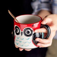 Owl Ceramic Mug - Red
