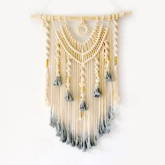 Handmade Macrame Wall Hanging Tapestry, 31 x 15in | 8 Happy Souls