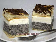 Mákos krémes • Recept   szakacsreceptek.hu Hungarian Recipes, Tiramisu, Cheesecake, Food And Drink, Ethnic Recipes, Sweet, Hampers, Beverages, Bakken