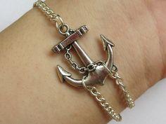Silver Anchor Bracelet--Antique Silver Anchor with Silver Alloy Chain Bracelet---C011. $2.99, via Etsy.