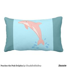 Peaches the Pink Dolphin Lumbar Pillow - drawing sketch design graphic draw personalize Sketch Design, Design Art, Custom Pillows, Decorative Pillows, Lumbar Pillow, Bed Pillows, Pillow Drawing, Pink Dolphin, Pink Gifts