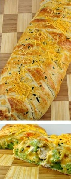 Broccoli Cheddar Chicken Braid Recipe- I couldn't find the crescent roll sheets, so used pillsbury thin crust pizza dough. turned out delish. I wish it gave amounts, because I ended up with extra filling.