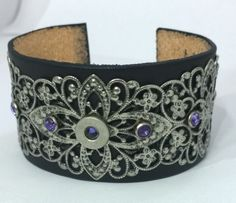 40 S&W bullet filigree & leather cuff with purple crystal rivets