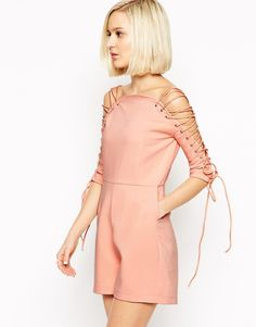 Lavish Alice Playsuit with Lace Up Sleeve from ASOS