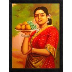 Ravi Varma Lady Fruits   #Ravivarmapaintings #Artgallery