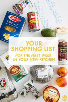 Shopping list for first week in new kitchen