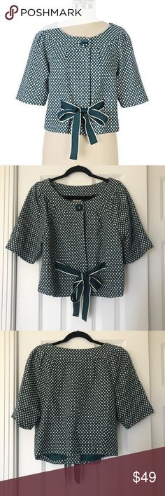 Anthro Elevenses Cozy Tea Jacket Super cute slightly cropped blazer / jacket with grosgrain ribbon belt at waist. Button and snap front closures. Elbow length sleeves. Wool blend. Size 10. Excellent pre-owned condition. No trades. Anthropologie Jackets & Coats