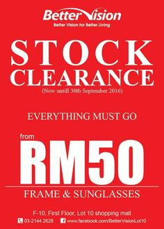 28-30 Sep 2016: Better Vision Stock Clearance
