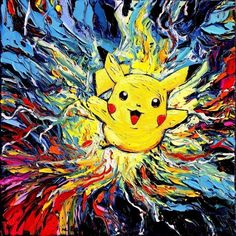 """Pikachu Art PRINT - Pokemon poster - Pokemon Inspired Art - Kids Decor - van Gogh Never Caught Them All - Art by Aja 8x8, 10x10, 12x12, 20x20, 24x24 inches. Thank you for your interest in my art - ***Please read entire description of item.*** This is a print - it is NOT a painting. It is not on canvas. It is not framed. I do offer canvas options, please see other listings. This stunning print of my original painting entitled """"van Gogh Never Caught Them All"""" utilizes all silver traditional..."""