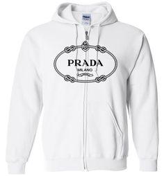 awesome PRADA logo Unisex zip hoodie