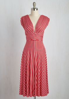 Sun-soaked Afternoon Dress in Scarlet. The sun reflects off the rolling waves as you make your way to the boardwalk in this striped midi dress! #red #modcloth