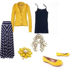 yellow and navy, created by jessicakate31.polyvore.com