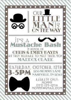 Baby Shower Little Man Printable Invitation And Thank You Note    Personalized   Mustache Bash
