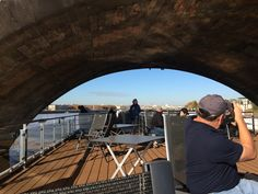Images from the Viking Forseti as we leave Bordeaux and head up the Garonne River towards Cadillac and the Sauternes region.Cruising under the pont de pierre. Ordered by Nepoleon I and opened in 1822. With the back of Jim's head!