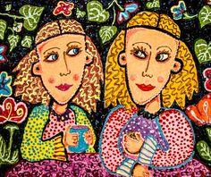 Girl Art, Art For Women, Girl's Bedroom Decor, Gift For Girls, Black And Peach, Woman Portrait, Couple Art, Girlfriends by Paula DiLeo_