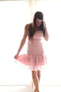 Lilly Pulitzer Pink & Green Embroidered Drop Waist Strapless Dress - $78 --> 73% off in my #threadflip closet! www.threadflip.com/caro #lilypulitzer