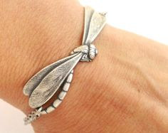 Dragonfly Bracelet Sterling Silver Ox Finish by BellaMantra