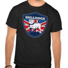 English bulldog british rugby sports team mascot t-shirts. illustration of a Proud English bulldog marching with Great Britain or British flag in background set inside a shield suitable for your rugby football or any sports team mascot. #illustration #Englishbulldog #rwc #rwc2015 #rugbyworldcup