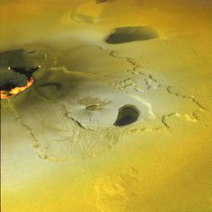 Tvashtar Catena - An active volcanic eruption on Jupiter's moon Io was captured in this false-color image taken by NASA's Galileo spacecraft, Feb 2000