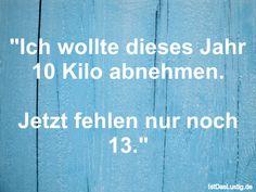 """""""Ich wollte dieses Jahr 10 Kilo abnehmen.  Jetzt fehlen nur noch 13."""" ... gefunden auf https://www.istdaslustig.de/spruch/155/pi"""