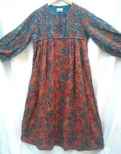 Anokhi Terracotta & Teal Kalamkari style Floral Block print Indian cotton Afghan style Maxi Dress