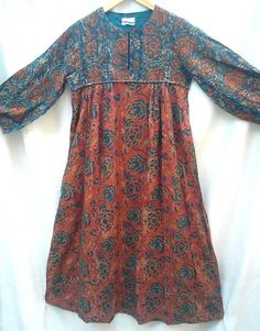 Anokhi Terracotta & Teal Kalamkari style Floral Block print Indian cotton Afghan style Maxi Dress