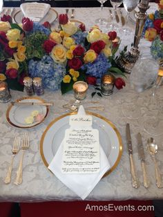 The four-course table setting for a Downton Abbey-esque dinner at the Cheekwood Dining Room table.