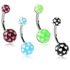 Love Pop Acrylic Belly Bars - Bright, Vibrant and Romantic Belly Piercings. Find it at www.tummytoys.com.au