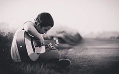 Boy, Guitar, Sitting, Outdoors