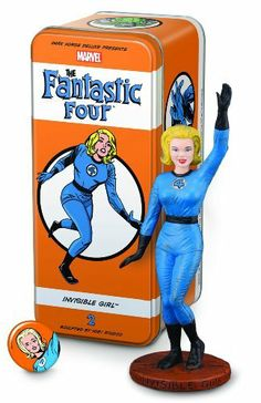 "Dark Horse Deluxe Classic Marvel Characters The Fantastic Four #2 Invisible Girl Statue by Dark Horse Deluxe. $37.70. Packaged in its own tin box. Limited to 1,000 numbered pieces. 6"" tall. Includes pin-back button and character booklet. Presents the classic Marvel Comics character from the '60s as a Syroco-style statue. Appearing in 1961, the Fantastic Four was the first superhero team created by writer-editor Stan Lee and artist and coplotter Jack Kirby. It ushered in ..."