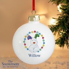 Baby's First Christmas bauble featuring The Snowman and the Snowdog. Personalised with baby's name and your own personal message. Perfect first christmas gift. Blue Baubles, Christmas Tree Baubles, Christmas Tree Toppers, Holiday Ornaments, Babys 1st Christmas, Baby Christmas Gifts, Pink Christmas, Christmas Ideas, Christmas Crafts