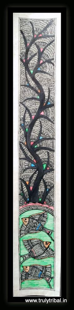 """This Black & White Madhubani has very intricate work, extremely fin details on Kadamb Tree along with classic motif of Fish. This Madhubani paintings is made by state Awardee artist on handmade paper by natural colours. Size: 8*26 inches"""