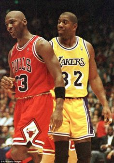 On February Michael Jordan and Magic Johnson met on the court for the first time since Game 5 of the 1991 NBA Finals. At the time, it set a record as the highest-rated NBA game ever on TV. Bryant Basketball, Jordan Basketball, Basketball Legends, Sports Basketball, Basketball Players, Basketball History, College Basketball, Nba Pictures, Basketball Pictures