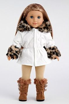 DreamWorld Collections Winter Fun - Ivory Parka with Leggings and Boots - 18 Inch American Girl Doll Clothes : Winter Doll Clothing