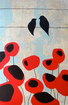 Absolutely ADORE these bird-on-a-wire map paintings. modern illustration style painting of swallows and poppies love the use of a recycled map for the canvas Map Painting, Painting & Drawing, Illustrations, Illustration Art, Diy Artwork, Arte Popular, Arte Floral, Art Plastique, Bird Art