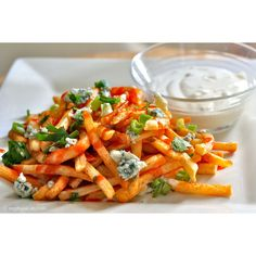 FFOODD attack // gastrogirl: buffalo fries with crumbled blue... ❤ liked on Polyvore featuring food and food and drink