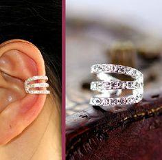 Strings Attached Rhinestone Single Ear Cuff | LilyFair Jewelry,$9.99!