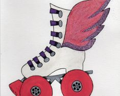 Pink and lavender watercolor and glitter Winged Roller-Skate original painting, watercolor painting, teen art, kids art, glitter art