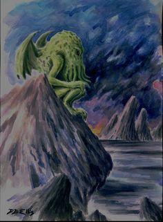 CTHULHU NO. 86 watercolor original sci fi art, lovecraft, horror, painting by david ellis