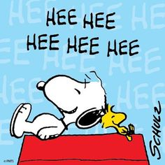 """hee hee hee hee hee"", Classic Snoopy and Wiodstock"