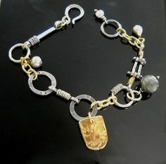 Patricia McCleery Designs A favorite new link bracelet, in silver and gold with pearls! (720×716)  ||  https://www.facebook.com/pages/Patricia-McCleery-Designs/149194958467116?id=149194958467116&sk=photos_stream