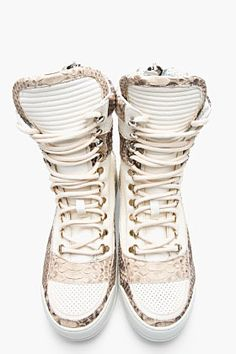 BALMAIN //  Ivory & Taupe Perforated Leather Pythonskin Sneakers  $1950.00 USD